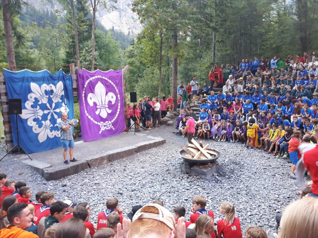 Scouting campfire at the Kandersteg International Scout Centre in Switzerland (KISC)
