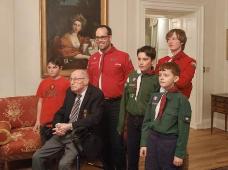 26th Halifax Scouts meet Fred Turnbull, D-Day veteran.